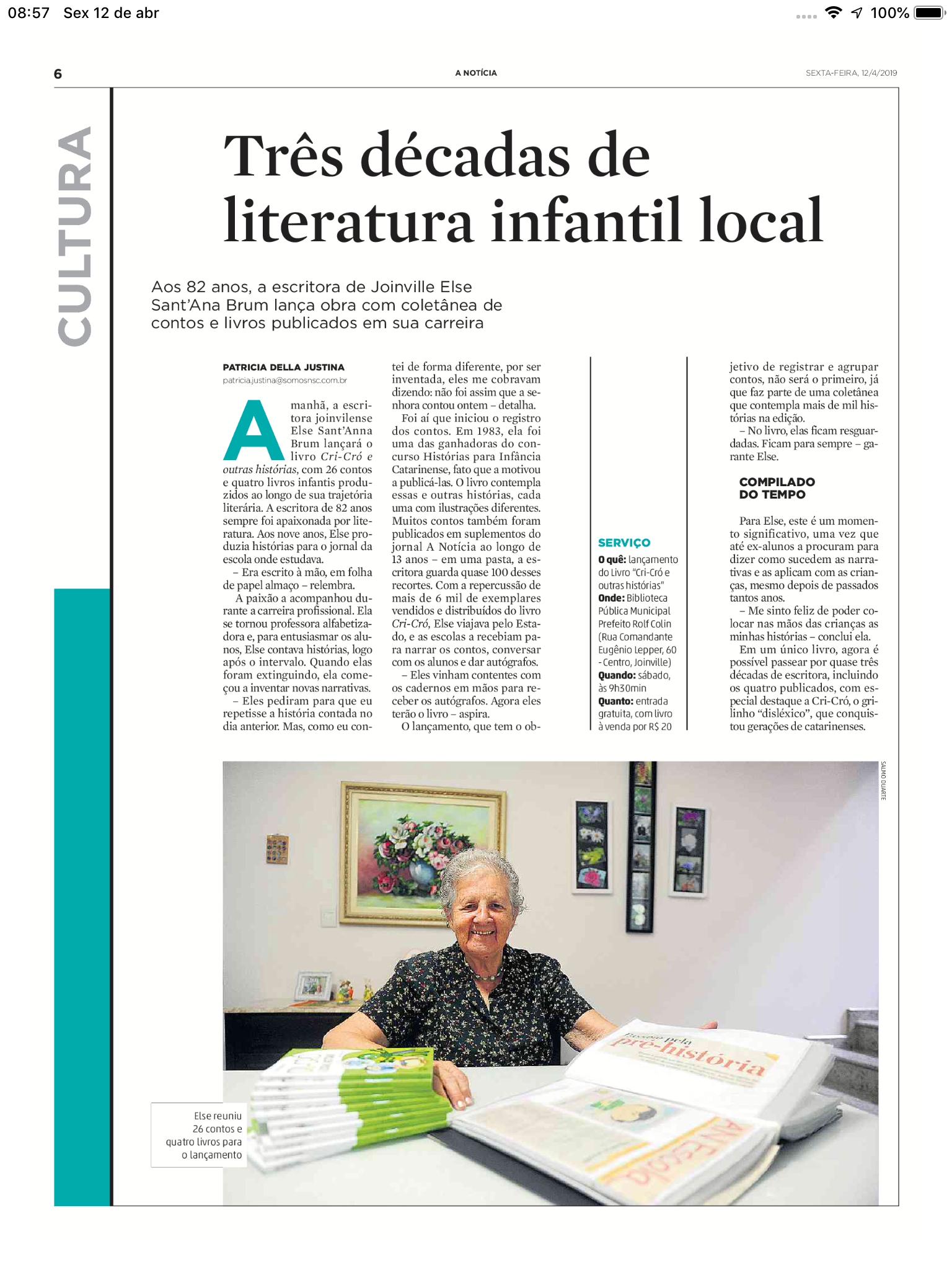 """Acadêmica Else lança """"Cri-cró"""", com destaque na imprensa"""