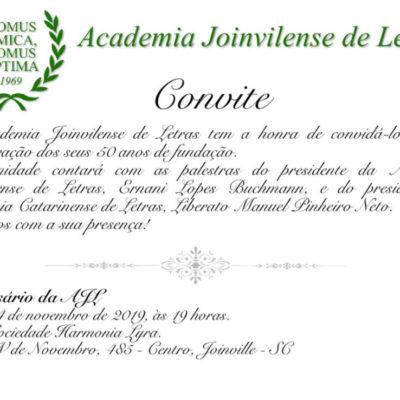 Academia Joinvilense de Letras convida para os seus 50 anos