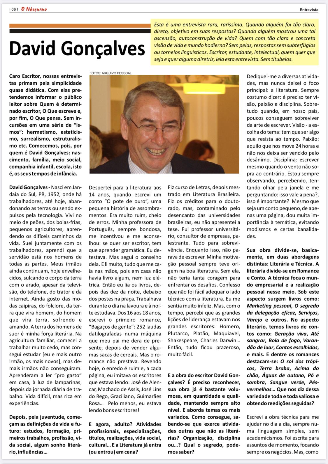 O Nheçuano entrevista Ac. David Gonçalves