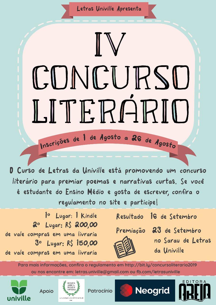 IV Concurso Literário: Univille e AJL unidos